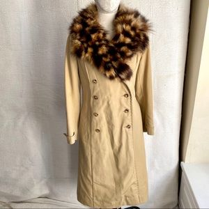 Vintage 70s S Real Fur Trench Pea Coat Warm Liner